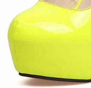 Neon Yellow Japanned Leather High heels SWS