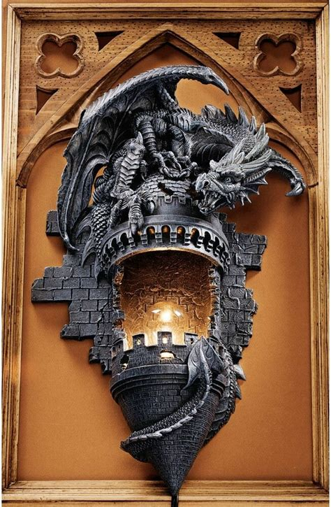 gothic castle turret dragon electric wall sconce