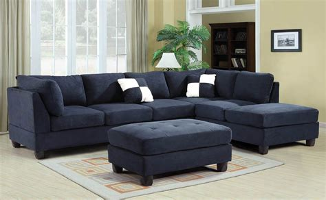 Furniture : G Reversible Sectional Set (navy Blue)-living Room