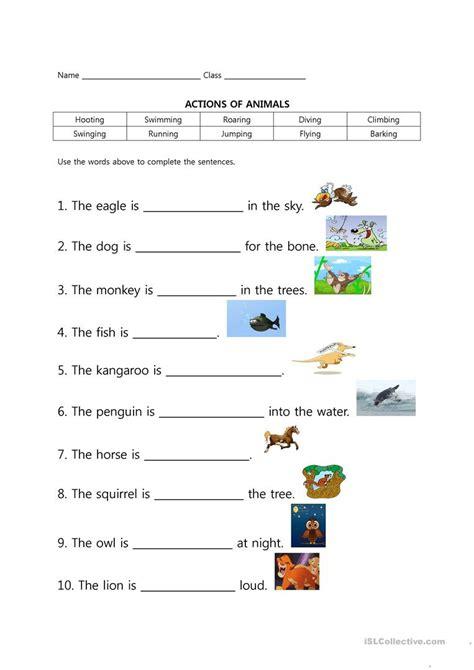 zoo animal actions english esl worksheets