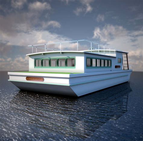 Scow Houseboat Plans by Millie Hill 28 Devlin Designing Boat Builders