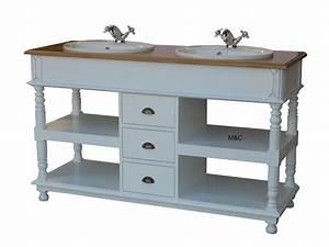 Meuble De Drapier : meuble salle de bain double vasques en bois ~ Teatrodelosmanantiales.com Idées de Décoration