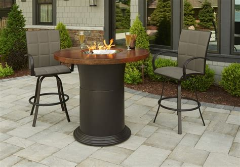 bar height patio table with fire pit 48 39 39 round artisan top colonial outdoor round fire pit table