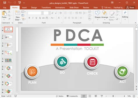 animated pdca cycle powerpoint template