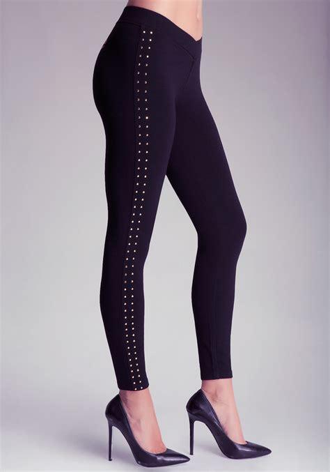 bebe rhinestone  front leggings  black lyst