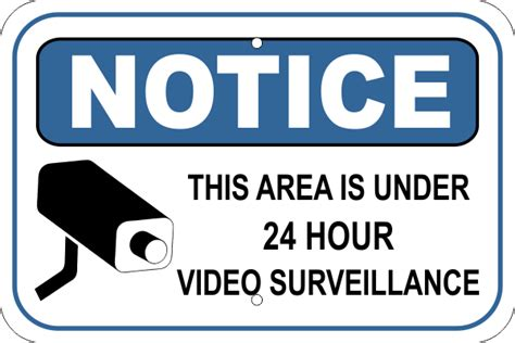 notice video camera surveillance aluminum sign custom signs