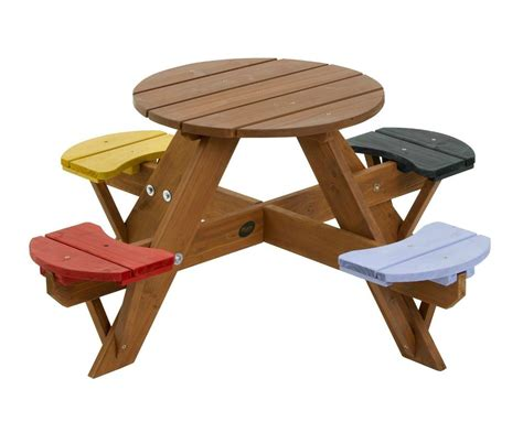 #garden #childrens #picnic #set #wooden #table #chairs #4 #coloured #seats #patio #round #new Tall Bistro Table And Chairs Outdoor Folding Chair With Footrest High Attaches To Sports Canopy Rattan Restaurant Rent A Tent Tables Ruffled Pads Bent Wood