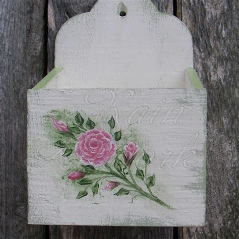 green shabby chic primitive wall box white cottage chic roses shabby green paint
