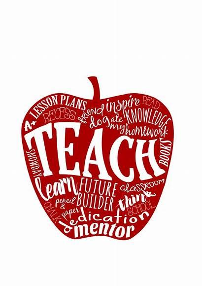 Teacher Apple Word Teach Gift 5x7 Matted