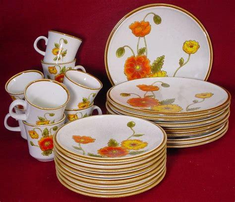 mikasa china natural beauty california poppy stoneware service pc poppies eight dishes 70s
