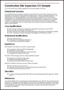 construction supervisor resume exles and sles construction site supervisor cv sle myperfectcv