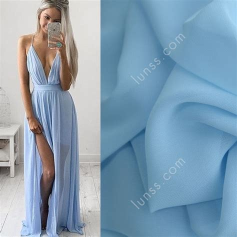 discount sky blue 100d polyester chiffon fabric for sale by the yard lunss couture
