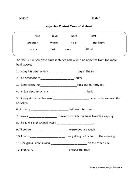 pictures context clues worksheets 6th grade getadating
