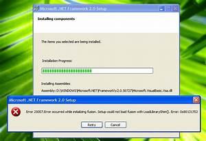 Microsoft .NET Framework 2.0 setup error on Windows XP SP3