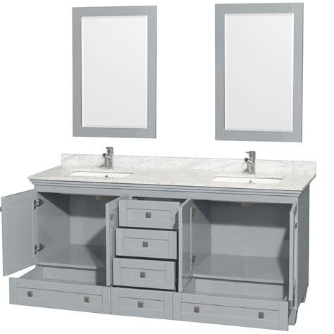 72 double sink vanity marble top accmilan 72 inch double sink bathroom vanity in grey