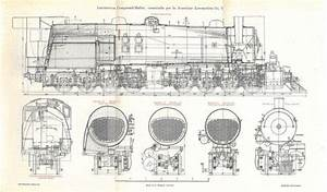 Locomotives Vintage Technical Drawing By Carambasvintage On Etsy