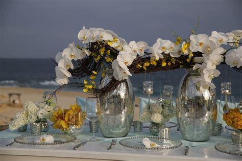 Elena Damy Yellow White Orchid Centerpieces Beach