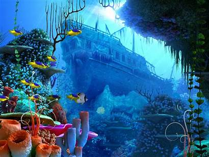Coral Reef Underwater Ocean Fish Ship Aquarium
