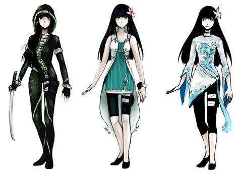 Commission 3 outfit designs for Yuzuki by gehirnkaefer on DeviantArt