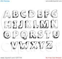 cool block letters alphabet sketched alphabet letters