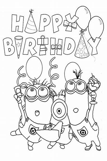 Coloring Birthday Pages Happy Minion Printable Minions
