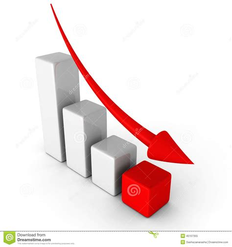 Business Decline Chart Graph With Falling Arrow Stock