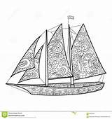 Coloring Sailboat Adults Vector Adult Zentangle Lace Dreamstime Designlooter Illustration sketch template