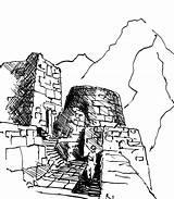 Machu Picchu Coloring Drawing Pichu Sketch Template sketch template
