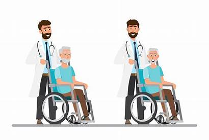 Vector Wheelchair Care Take Doctor Sit Young