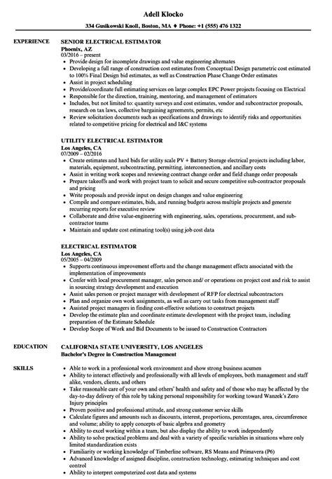 electrical estimator resume sles velvet jobs