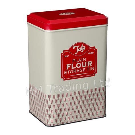 Set Of 2 Plain & Self Raising Flour Storage Tins Kitchen