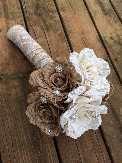 Burlap Flower Bouquet For Rustic Vintage Weddings Etsy