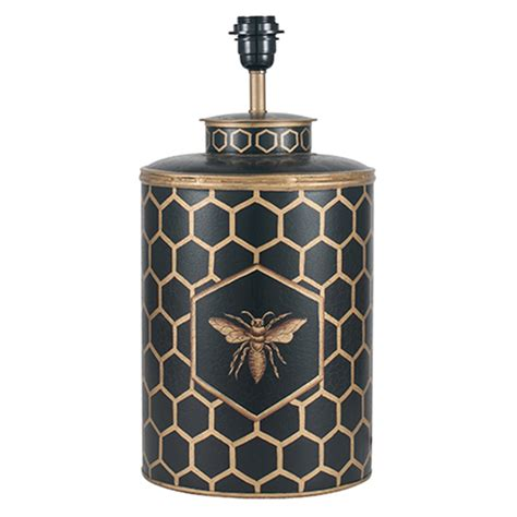 black honeycomb hand painted metal table lamp