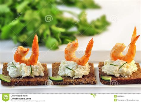 rye bread canapes canapes rye bread with ricotta cheese and tails of shrimps royalty free stock image image