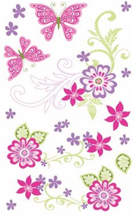 scroll clipart butterflies  flowers  color