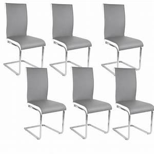 Chaise Grise Pas Cher : lea lot de 6 chaises de salle manger blanches grises achat vente chaise cdiscount ~ Teatrodelosmanantiales.com Idées de Décoration