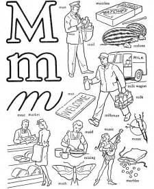 Letter M Words Coloring Pages
