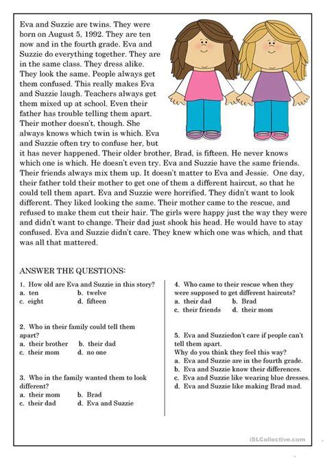 reading comprehension for beginner and elementary students 9 worksheet free esl printable