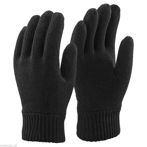 mens  black thinsulate thermal lined winter gloves large