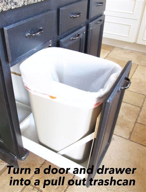 under sink garbage pull out turn a door and a drawer into a pull out trash can under