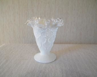 items similar  fenton ruffled hobnail milk glass compote