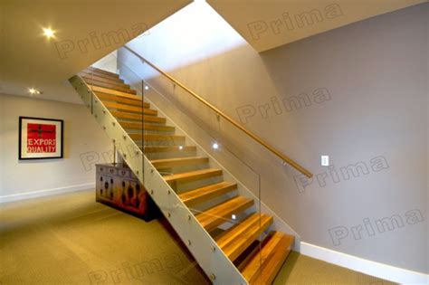 customized tempered glass interior stair railing beam wooden stairs with solid wood staircases