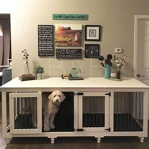 Double doggie denr doggies dog and dog crate for 2 dog crate furniture