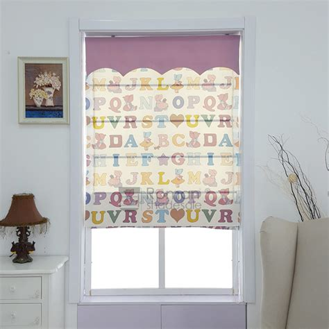 Cute Flat Shaped Polycotton Kids Roman Shades With Valance