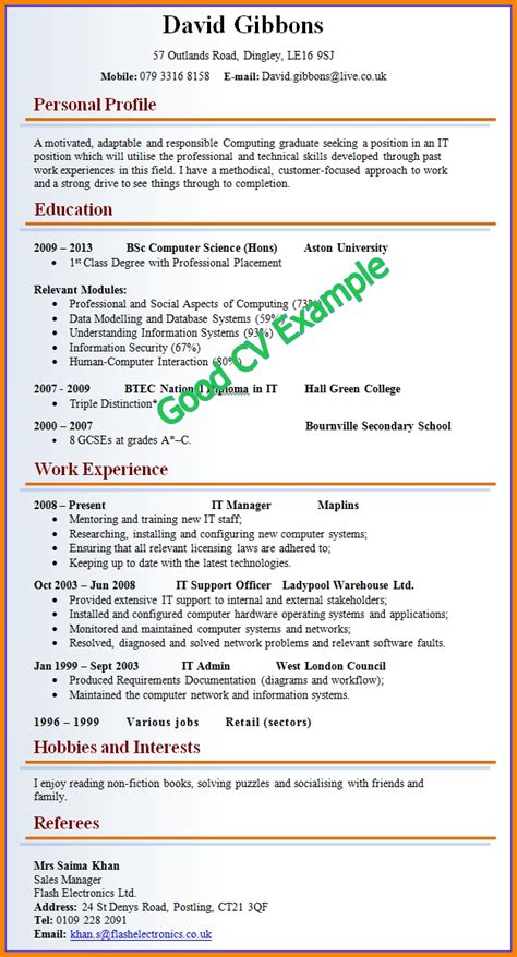 Exle Of A Well Written Cv by 11 Exle Of A Written Cv Penn Working Papers