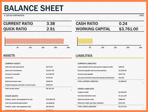 company balance sheet template company letterhead