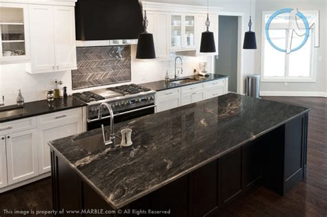 astrus and absolute black leathered granite kitchen