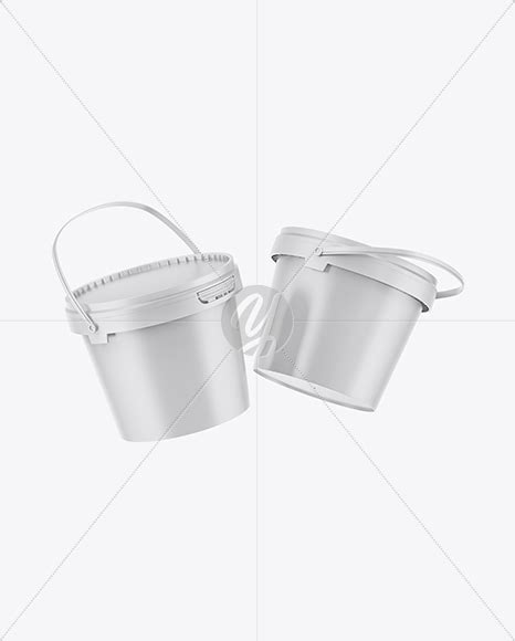 Vhite vector paint bucket mockup. Two Matte Paint Buckets Mockup in Can Mockups on Yellow ...