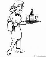 Waitress Waiter Coloring Pages Jobs Sketch Template sketch template