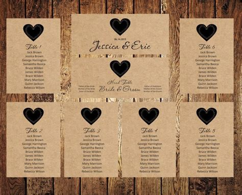 Wedding Seating Chart Template Wedding Seating Chart Editable Text Rustic Kraft Wedding